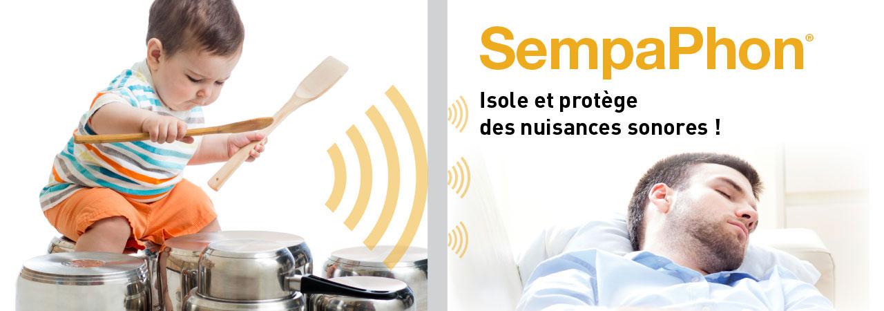SempaPhon, produit d'isolation phonique et thermique pour mur intérieur, isole et protège des nuisances sonores.