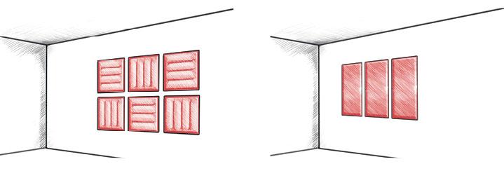 Montage direct au mur des panneaux acoustiques WOOPIES (format portrait ou paysage)