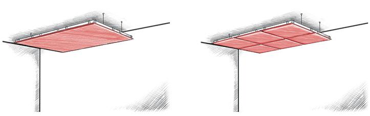 Suspension au plafond avec cadre-support des panneaux acoustiques WOOPIES