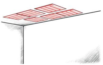 Montage direct au plafond des panneaux acoustiques WOOPIES